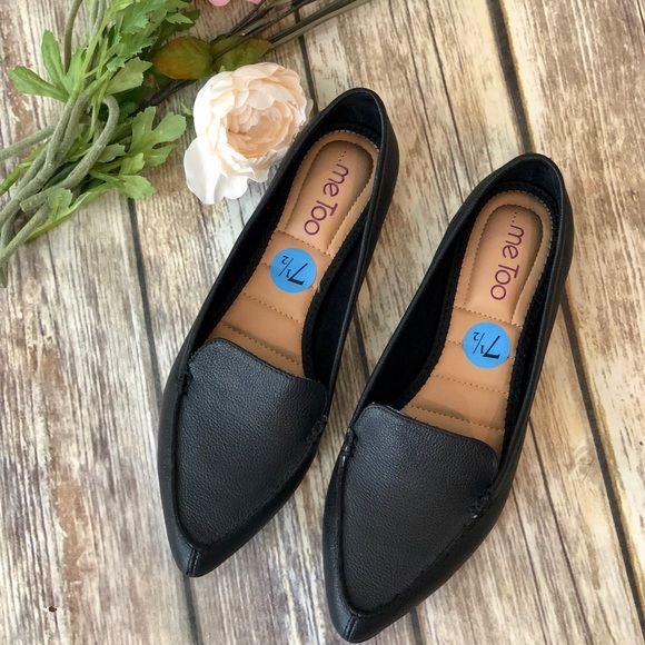 fb7ec9c429a NWT ME TOO Black Audra Pointed Toe Flat Loafer 7.5